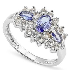 Ring 1.03 Ct Oval Tanzanite & Diamond 925 Silver